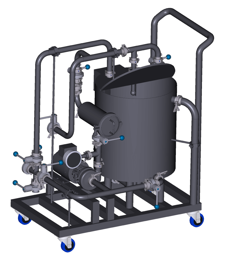 They range from single tank manual systems to 2 vessel fully automated versions and everything in between and can be used in conjunction or as a steppingstone to a fully hard piped stationary CIP.